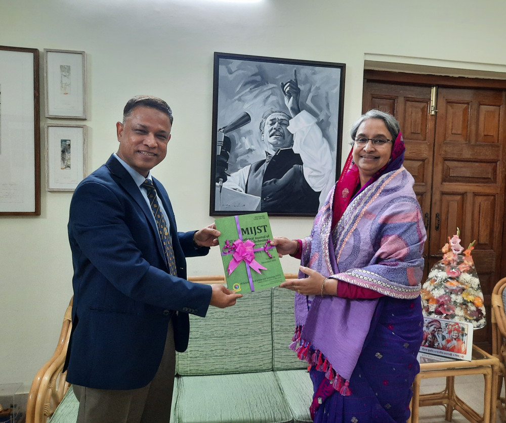 Commandant MIST hands over Online Open Access Journal MIJST to Honorable Education Minister, Dr Dipu Moni