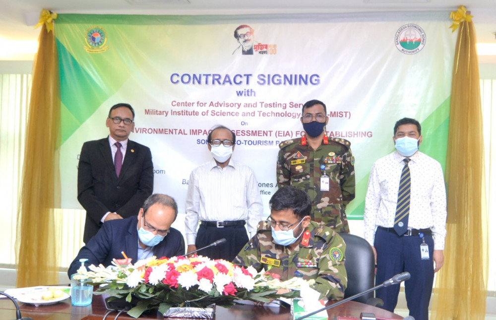 Contract signing between CATS EWCE, MIST and BEZA on Environmental Impact Assessment of Sonadia Eco-Tourism Park.